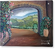 Tuscany Vineyards Through The Archway Acrylic Print