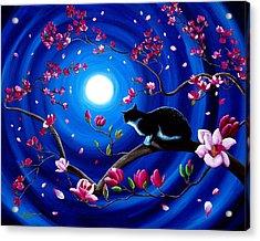 Tuxedo Cat In A Japanese Magnolia Tree Acrylic Print
