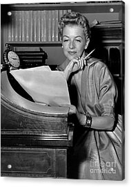 Tv And Big Screen Actress, Betty Furness. 1956 Acrylic Print by Anthony Calvacca