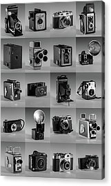 Twenty Old Cameras - Black And White Acrylic Print