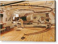 Twenty-seven Pound Cannon On A Battleship Acrylic Print