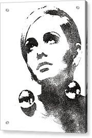 Twiggy Bw Portrait Acrylic Print by Mihaela Pater