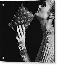 Twiggy Holding Louis Vuitton Envelope Bag Acrylic Print by Bert Stern