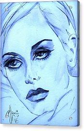 Twiggy In Blue Acrylic Print by P J Lewis