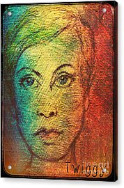 Twiggy In Oils Acrylic Print by Joan-Violet Stretch