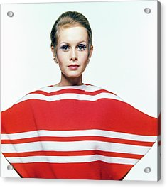 Twiggy In Red Striped Coverup Acrylic Print by Bert Stern