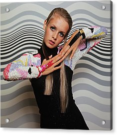 Twiggy Models In Front Of Waves Acrylic Print by Bert Stern