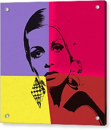 Twiggy Pop Art 1 Acrylic Print by Dan Sproul