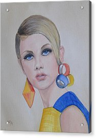 Twiggy The 60's Fashion Icon Acrylic Print by Kelly Mills