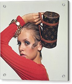 Twiggy With Louis Vuitton Purse Acrylic Print by Bert Stern