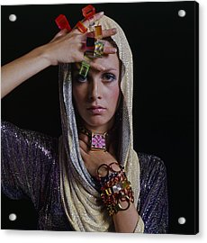 Twiggy With Lucite Rings Acrylic Print by Bert Stern
