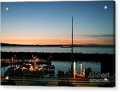 Twilight At Edmonds Marina Acrylic Print