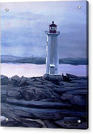 Acrylic Print featuring the painting Twilight At Peggy's Cove by Patricia L Davidson