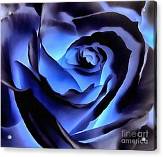 Twilight Blue Rose  Acrylic Print by Janine Riley