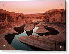 Acrylic Print featuring the photograph Twilight Glow In Reflection Canyon, Lake Powell, Utah. by Johnny Adolphson