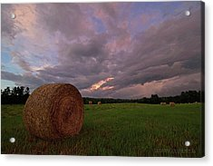 Twilight Hay Bale Acrylic Print by Jerry LoFaro
