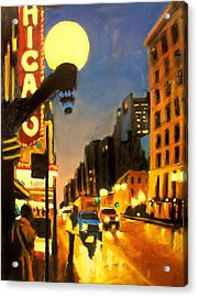 Twilight In Chicago - The Watcher Acrylic Print by Robert Reeves