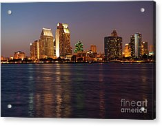 Twilight On San Diego Harbor Acrylic Print by Sandra Bronstein