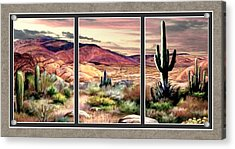 Twilight On The Desert Split Image Acrylic Print by Ron Chambers