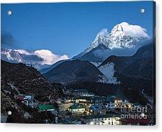 Twilight Over Pangboche In Nepal Acrylic Print