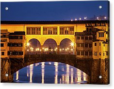 Acrylic Print featuring the photograph Twilight Over The Ponte Vecchio by Andrew Soundarajan