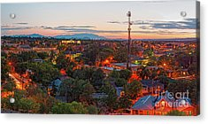 Twilight Panorama Of Downtown Santa Fe From Cross Of The Martyrs - New Mexico  Acrylic Print