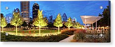 Twilight Panorama Of Klyde Warren Park And Downtown Dallas Skyline - North Texas Acrylic Print