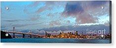 Twilight Panorama Of San Francisco Skyline And Bay Area Bridge From Treasure Island - California Acrylic Print by Silvio Ligutti