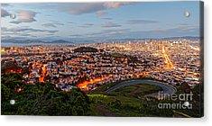 Twilight Panorama Of San Francisco Skyline And Bay Area From Twin Peaks Overlook - California Acrylic Print by Silvio Ligutti