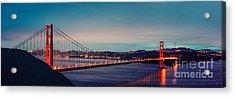 Twilight Panorama Of The Golden Gate Bridge From The Marin Headlands - San Francisco California Acrylic Print by Silvio Ligutti
