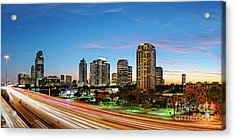 Twilight Panorama Of Uptown Houston Business District And Galleria Area Skyline Harris County Texas Acrylic Print