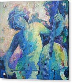 Twilight Rhapsody - Lady Playing The Cello Acrylic Print