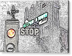 Twilight Zone Tower Of Terror Stop Sign Hollywood Studios Walt Disney World Prints Colored Pencil Acrylic Print by Shawn O'Brien