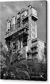 Twilight Zone Tower Of Terror Vertical Hollywood Studios Walt Disney World Prints Bandw Poster Edges Acrylic Print