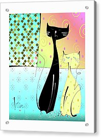 Acrylic Print featuring the mixed media Cattitude by Larry Talley