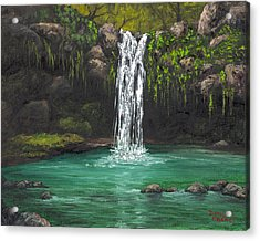 Acrylic Print featuring the painting Twin Falls 2 by Darice Machel McGuire