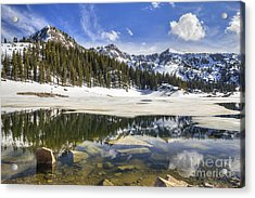 Twin Lakes Reservoir Melting Ice Acrylic Print