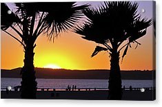 Twin Palms At Sunset Acrylic Print
