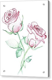 Twin Roses Acrylic Print by Varpu Kronholm