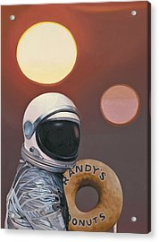 Acrylic Print featuring the painting Twin Suns And Donuts by Scott Listfield