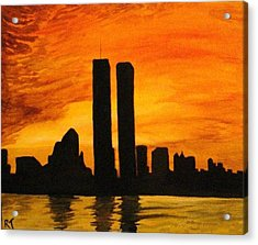 Twin Towers Silhouette Acrylic Print