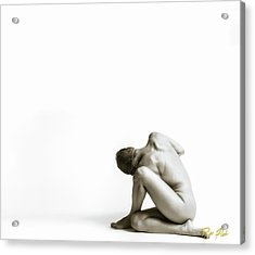 Acrylic Print featuring the photograph Twisted Figure On White by Rikk Flohr