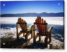 Two Adirondack Chairs  Acrylic Print by George Oze