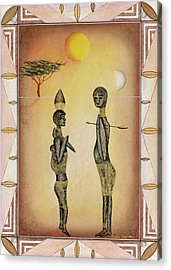 Two African Figures And Tree Acrylic Print by Sally Appleby