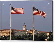 Two American Flags With Old Post Office Building Acrylic Print by Sami Sarkis