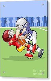 Two American Football Players In Hard Struggle For Possession Of The Ball Acrylic Print