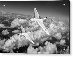 Acrylic Print featuring the photograph Two Avro Vulcan B1 Nuclear Bombers Bw Version by Gary Eason