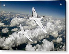 Acrylic Print featuring the photograph Two Avro Vulcan B1 Nuclear Bombers by Gary Eason