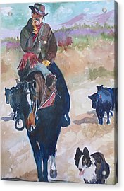 Acrylic Print featuring the painting Two Bad Cowdogs by P Maure Bausch