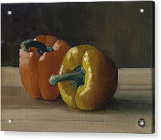 Two Bell Peppers Acrylic Print by John Reynolds